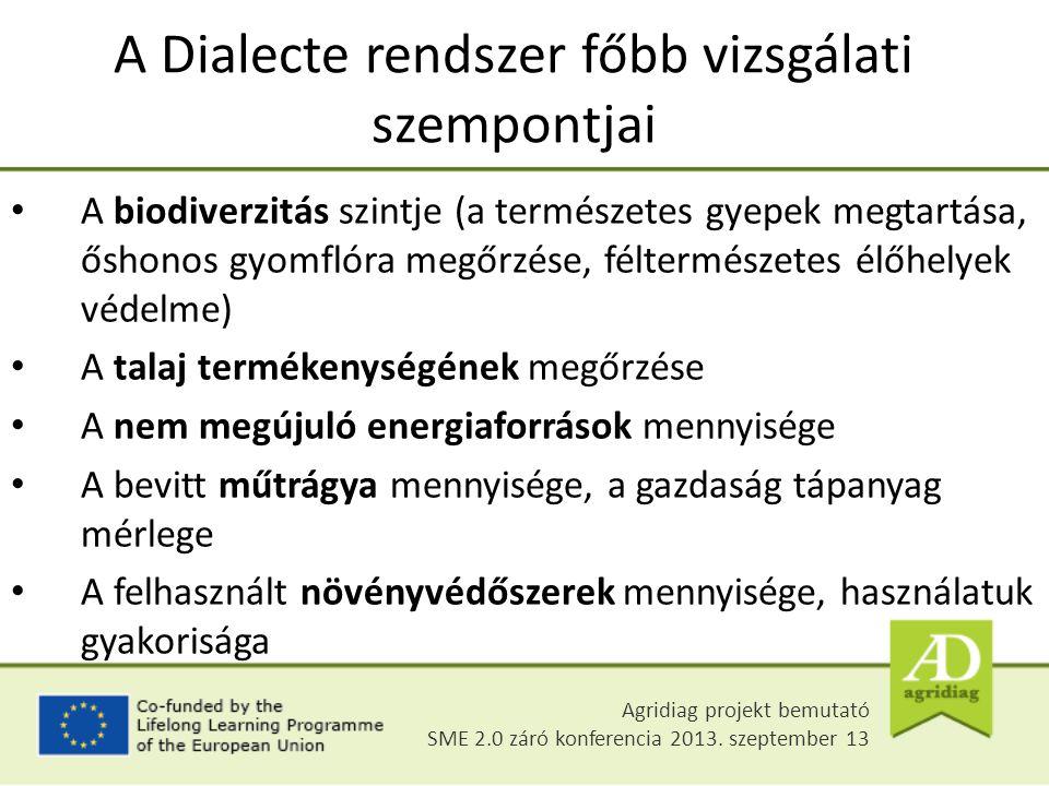A Dialecte rendszer főbb vizsgálati szempontjai A biodiverzitás szintje (a természetes gyepek megtartása, őshonos gyomflóra megőrzése, féltermészetes
