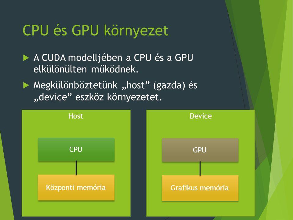 CPU és GPU környezet  A CUDA modelljében a CPU és a GPU elkülönülten működnek.