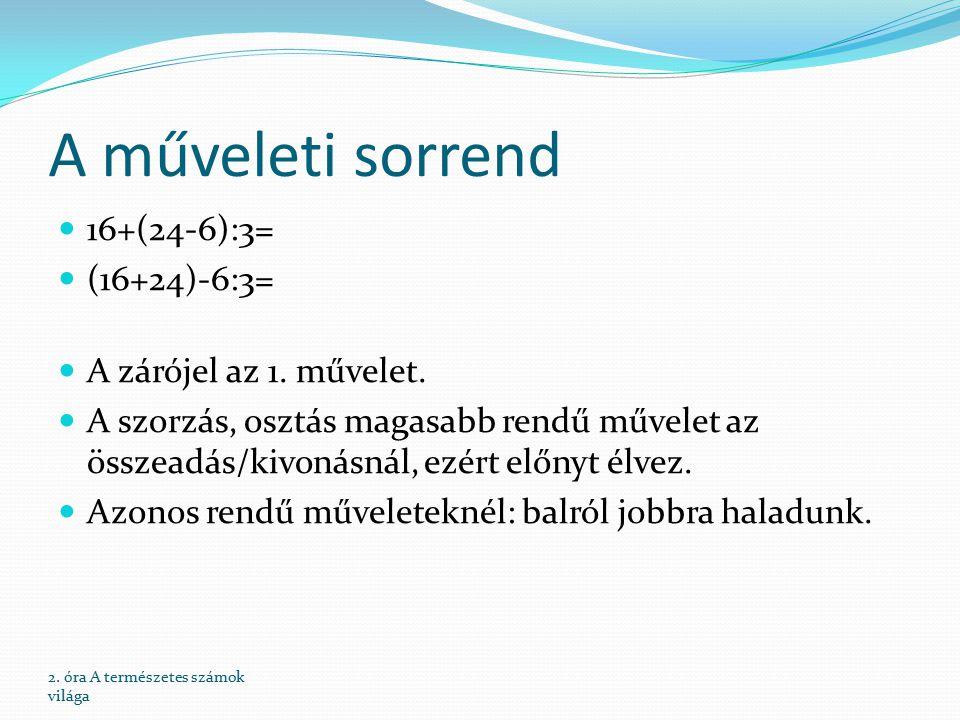 A műveleti sorrend 16+(24-6):3= (16+24)-6:3= A zárójel az 1.