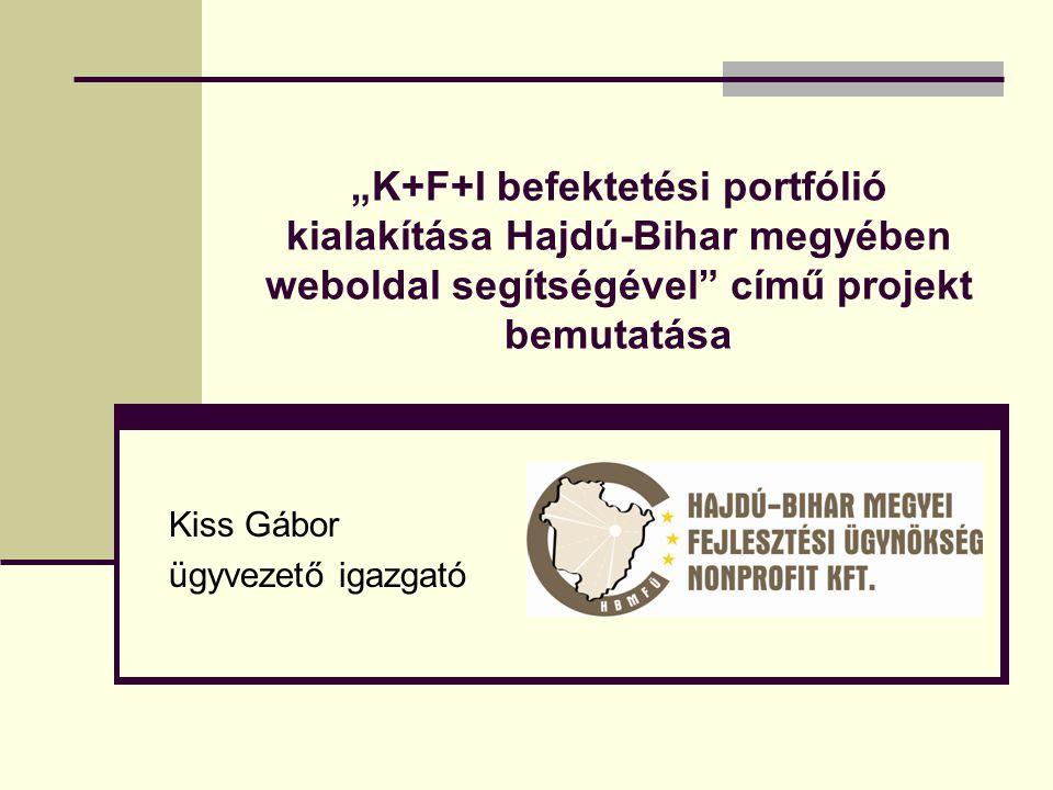 """""""K+F+I befektetési portfólió kialakítása Hajdú-Bihar megyében weboldal segítségével című projekt bemutatása Kiss Gábor ügyvezető igazgató"""