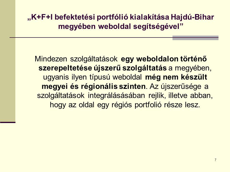 """7 """"K+F+I befektetési portfólió kialakítása Hajdú-Bihar megyében weboldal segítségével Mindezen szolgáltatások egy weboldalon történő szerepeltetése újszerű szolgáltatás a megyében, ugyanis ilyen típusú weboldal még nem készült megyei és régionális szinten."""