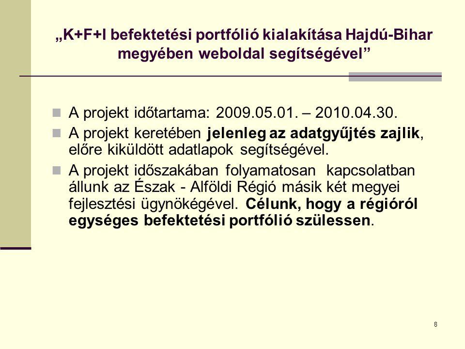 """8 """"K+F+I befektetési portfólió kialakítása Hajdú-Bihar megyében weboldal segítségével A projekt időtartama: 2009.05.01."""