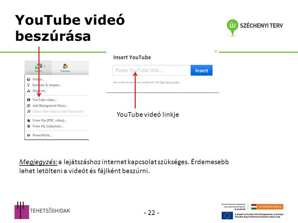 YouTube videó beszúrása YouTube videó linkje Megjegyzés: a lejátszáshoz internet kapcsolat szükséges.