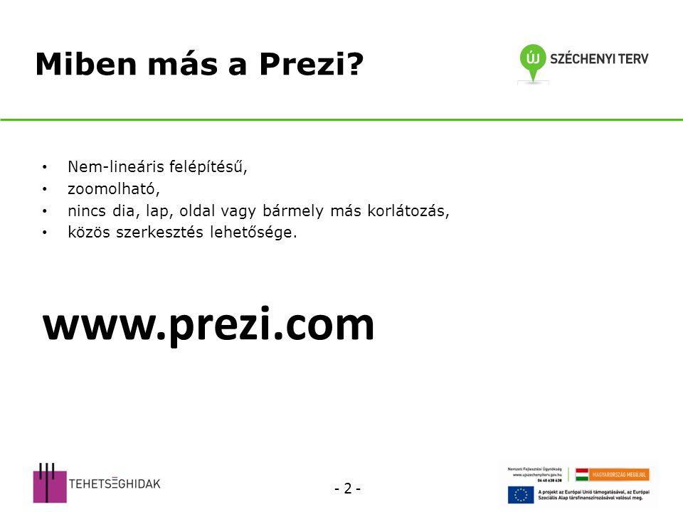 Egyéb beállítások Prezi címének beállítása Prezi leírásának szerkesztése Prezi törlése Teljes képernyő Hozzászólások Lejátszás időzítése Léptetés Szerkesztés Prezi megosztása Másolat készítése Letöltés Távirányítású lejátszás Beágyazás, pl.: egy honlapba - 33 -