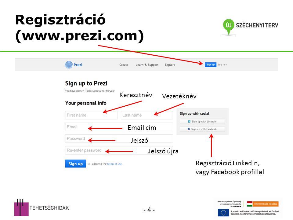 Regisztráció (www.prezi.com) Keresztnév Vezetéknév Email cím Jelszó Regisztráció LinkedIn, vagy Facebook profillal Jelszó újra - 4 -