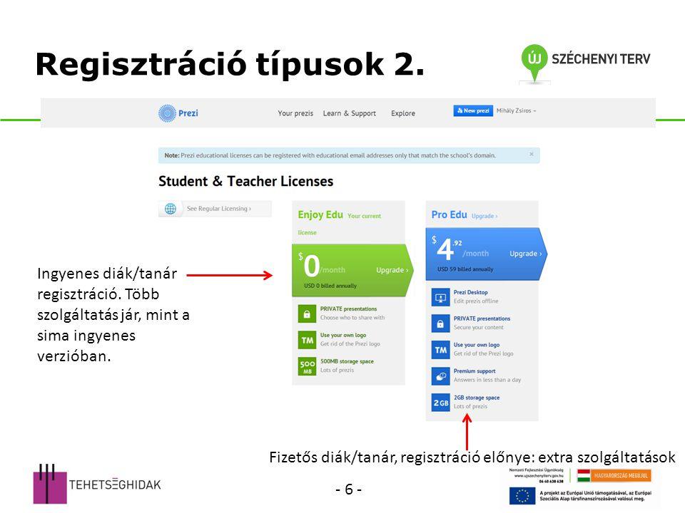 Regisztráció típusok 2.