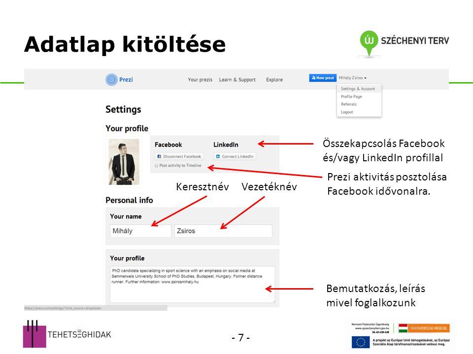 Így néz ki az adatlap Publikus prezentációk Megjegyzés: a Google indexeli és a keresési találatokban megjelenik.