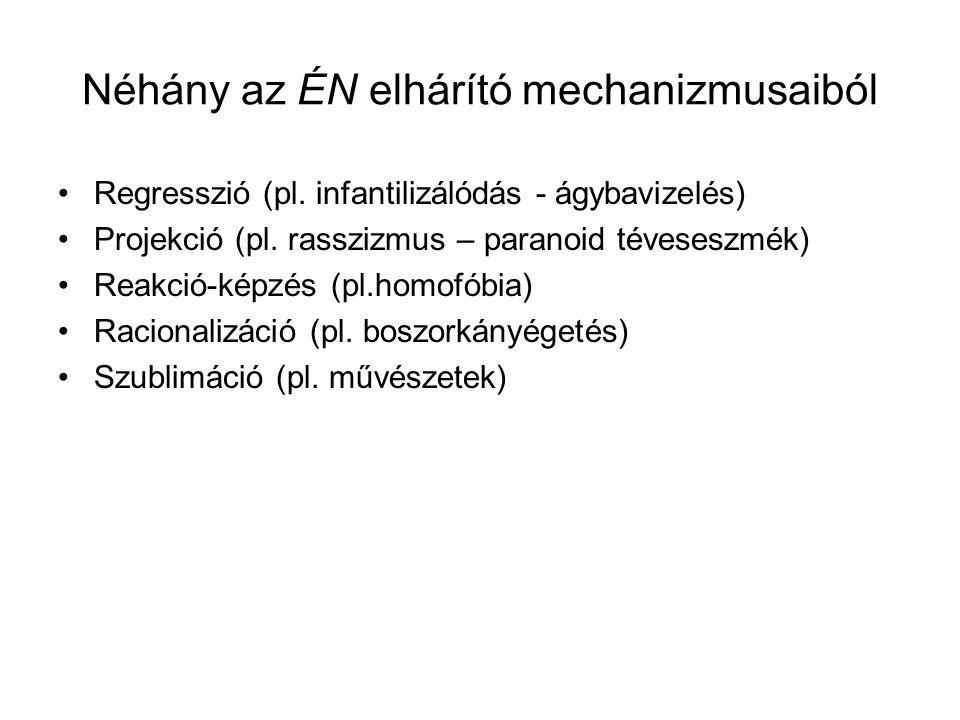 Néhány az ÉN elhárító mechanizmusaiból Regresszió (pl. infantilizálódás - ágybavizelés) Projekció (pl. rasszizmus – paranoid téveseszmék) Reakció-képz
