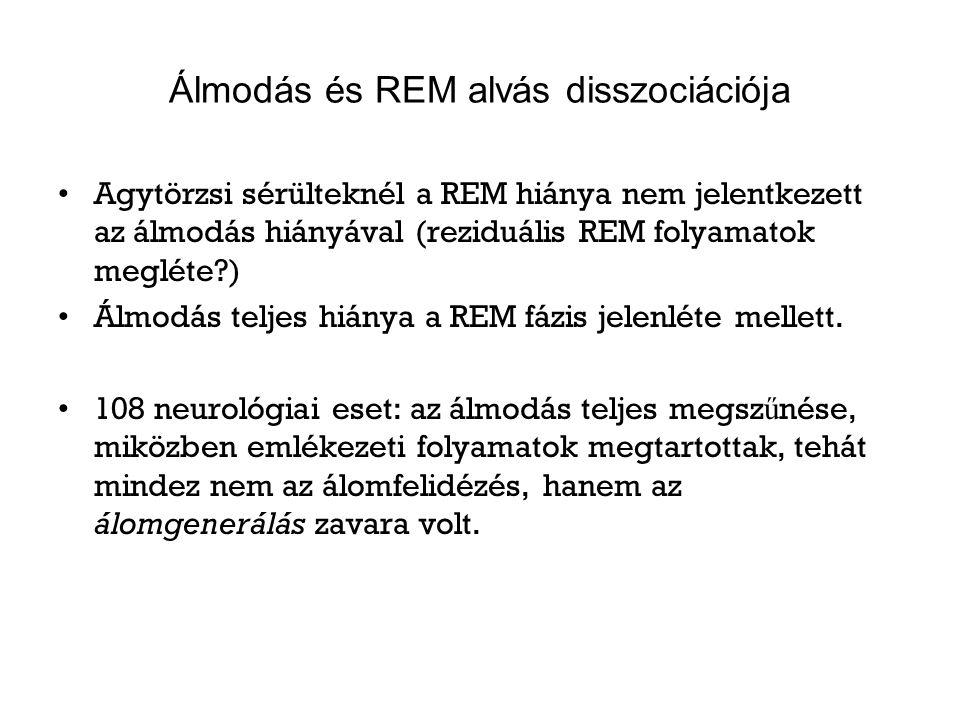 Álmodás és REM alvás disszociációja Agytörzsi sérülteknél a REM hiánya nem jelentkezett az álmodás hiányával (reziduális REM folyamatok megléte?) Álmo