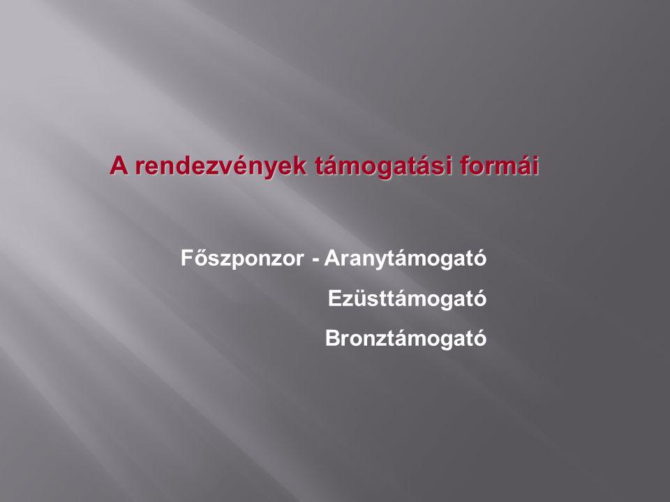 Főszponzor - Aranytámogató Ezüsttámogató Bronztámogató A rendezvények támogatási formái