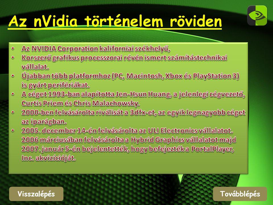 Visszalépés Az nVidia történelem röviden Továbblépés