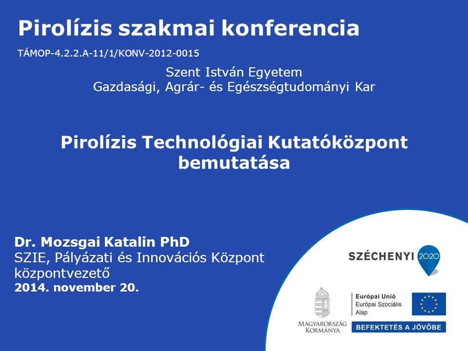 Pirolízis szakmai konferencia TÁMOP-4.2.2.A-11/1/KONV-2012-0015 Szent István Egyetem Gazdasági, Agrár- és Egészségtudományi Kar Pirolízis Technológiai