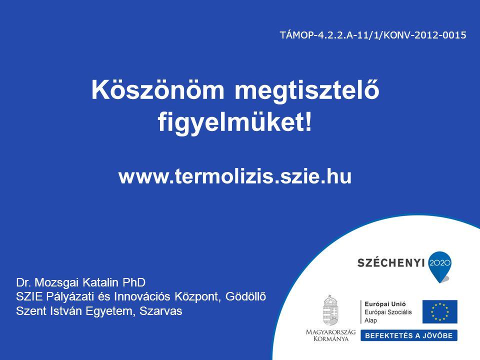 Köszönöm megtisztelő figyelmüket! www.termolizis.szie.hu Dr. Mozsgai Katalin PhD SZIE Pályázati és Innovációs Központ, Gödöllő Szent István Egyetem, S