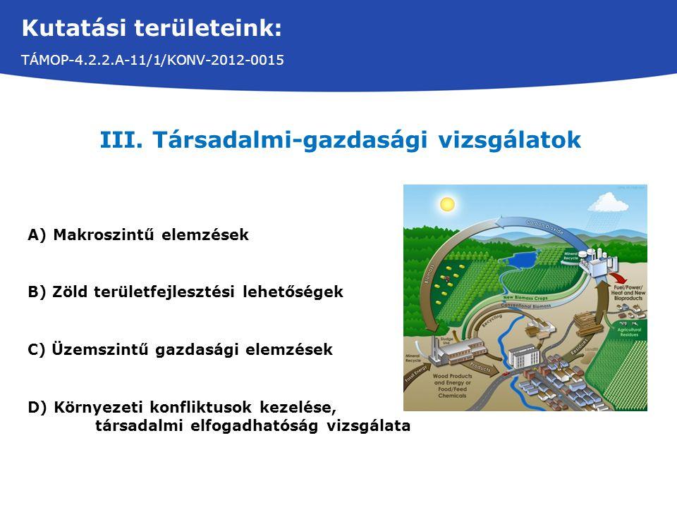 Kutatási területeink: TÁMOP-4.2.2.A-11/1/KONV-2012-0015 III. Társadalmi-gazdasági vizsgálatok A)Makroszintű elemzések B) Zöld területfejlesztési lehet