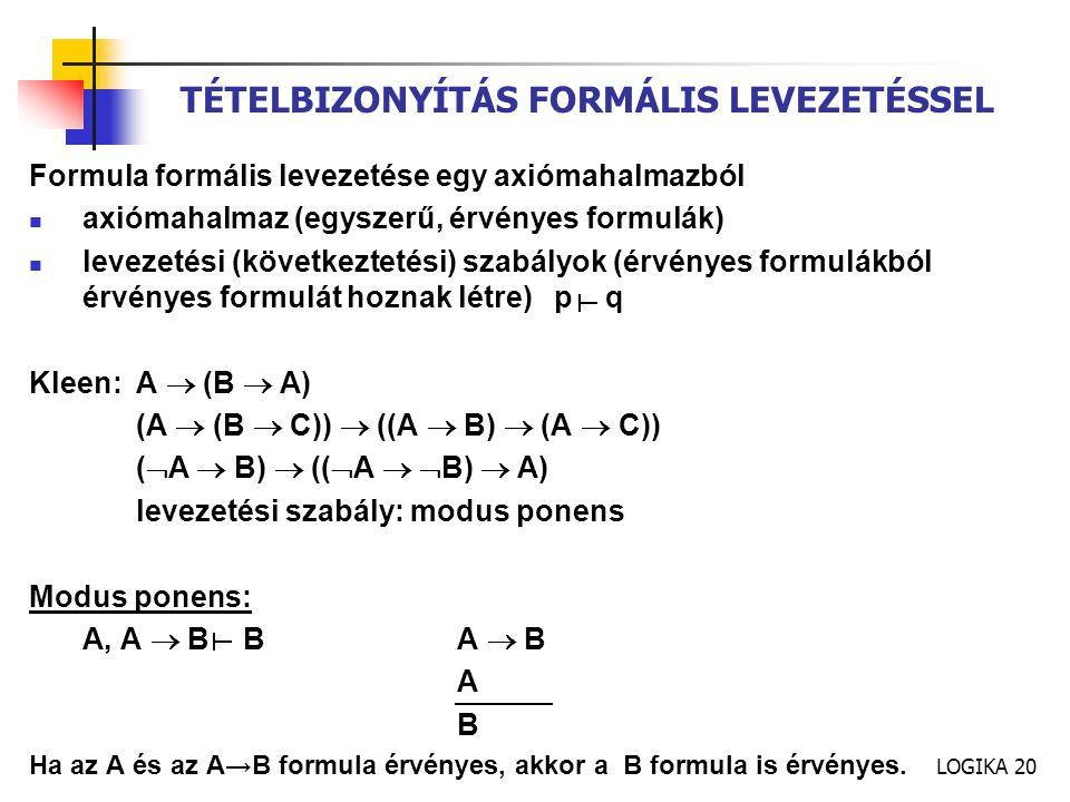 LOGIKA 20 TÉTELBIZONYÍTÁS FORMÁLIS LEVEZETÉSSEL Formula formális levezetése egy axiómahalmazból axiómahalmaz (egyszerű, érvényes formulák) levezetési (következtetési) szabályok (érvényes formulákból érvényes formulát hoznak létre) p q Kleen:A  (B  A) (A  (B  C))  ((A  B)  (A  C)) (  A  B)  ((  A   B)  A) levezetési szabály: modus ponens Modus ponens: A, A  BBA  B A B Ha az A és az A→B formula érvényes, akkor a B formula is érvényes.
