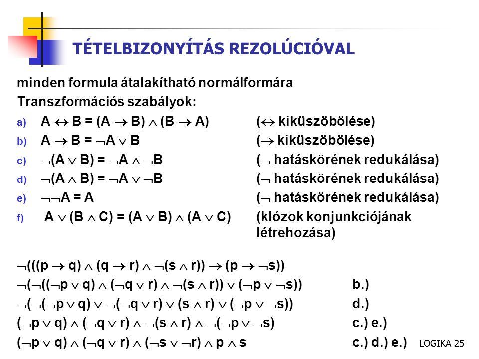 LOGIKA 25 minden formula átalakítható normálformára Transzformációs szabályok: a) A  B = (A  B)  (B  A)(  kiküszöbölése) b) A  B =  A  B(  kiküszöbölése) c)  (A  B) =  A   B(  hatáskörének redukálása) d)  (A  B) =  A   B(  hatáskörének redukálása) e)  A = A(  hatáskörének redukálása) f) A  (B  C) = (A  B)  (A  C)(klózok konjunkciójának létrehozása)  (((p  q)  (q  r)   (s  r))  (p   s))  (  ((  p  q)  (  q  r)   (s  r))  (  p   s))b.)  (  (  p  q)   (  q  r)  (s  r)  (  p   s))d.) (  p  q)  (  q  r)   (s  r)   (  p   s)c.) e.) (  p  q)  (  q  r)  (  s   r)  p  sc.) d.) e.) TÉTELBIZONYÍTÁS REZOLÚCIÓVAL