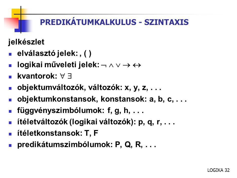 LOGIKA 32 PREDIKÁTUMKALKULUS - SZINTAXIS jelkészlet elválasztó jelek:, ( ) logikai műveleti jelek:      kvantorok:   objektumváltozók, változók: x, y, z,...