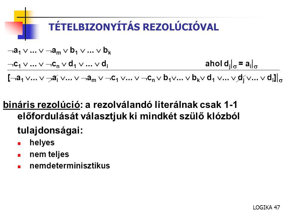 LOGIKA 47 TÉTELBIZONYÍTÁS REZOLÚCIÓVAL  a 1 ...  a m  b 1 ...