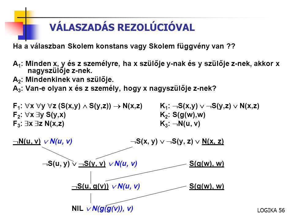 LOGIKA 56 VÁLASZADÁS REZOLÚCIÓVAL Ha a válaszban Skolem konstans vagy Skolem függvény van ?.