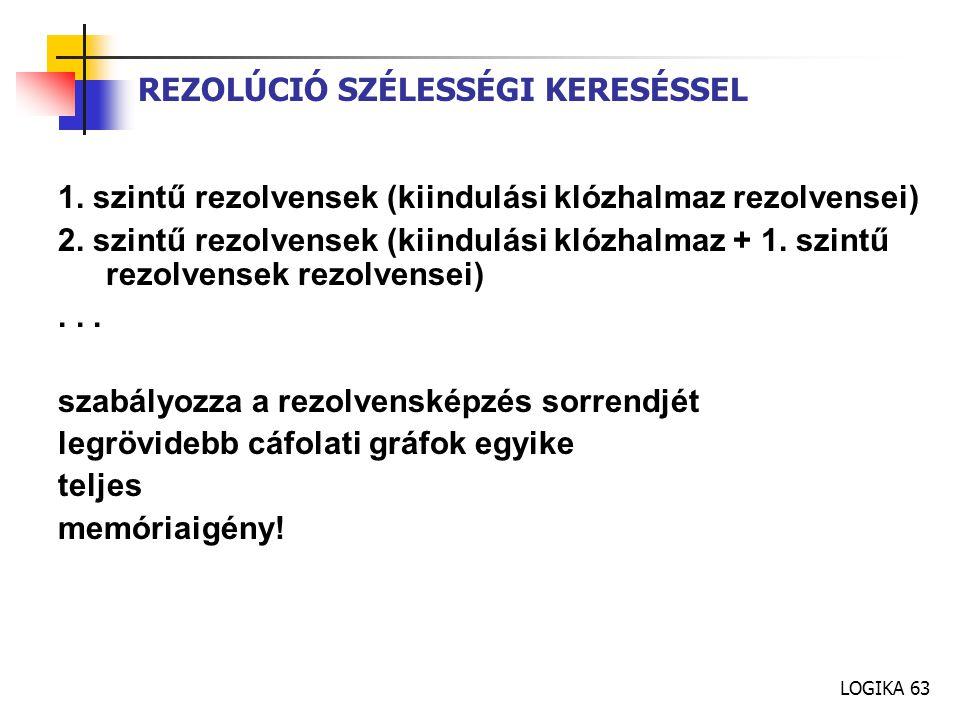 LOGIKA 63 REZOLÚCIÓ SZÉLESSÉGI KERESÉSSEL 1.