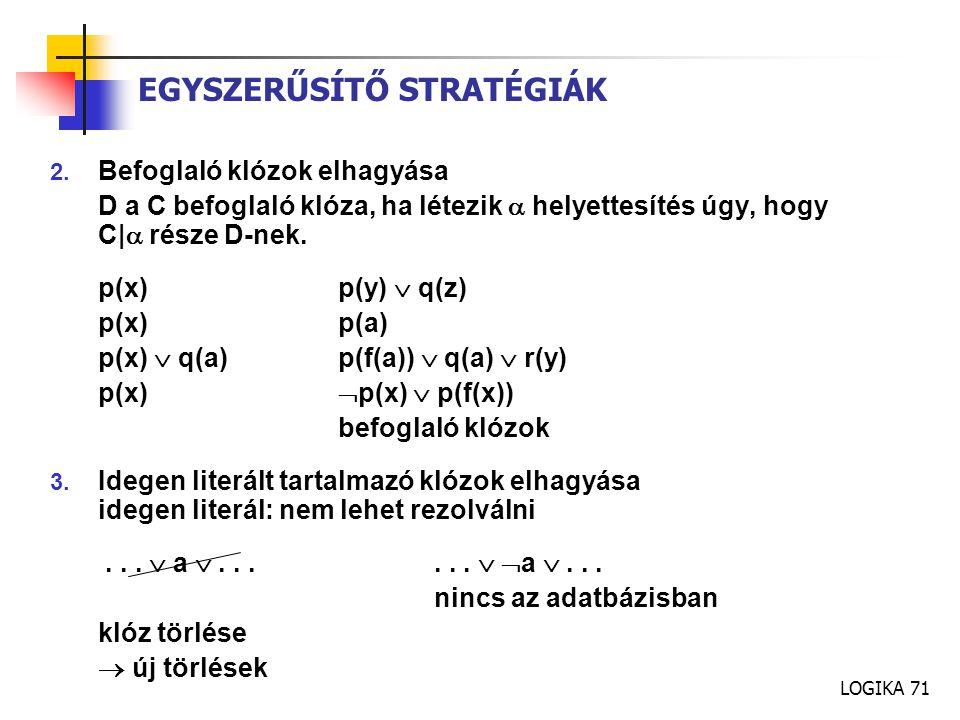LOGIKA 71 EGYSZERŰSÍTŐ STRATÉGIÁK 2.