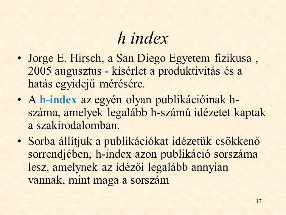17 h index Jorge E. Hirsch, a San Diego Egyetem fizikusa, 2005 augusztus - kísérlet a produktivitás és a hatás egyidejű mérésére. A h-index az egyén o