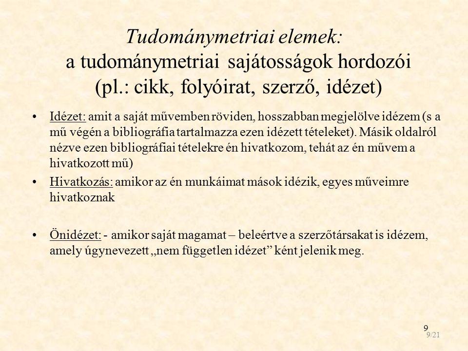 9 Tudománymetriai elemek: a tudománymetriai sajátosságok hordozói (pl.: cikk, folyóirat, szerző, idézet) Idézet: amit a saját művemben röviden, hossza
