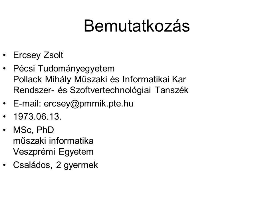 Bemutatkozás Ercsey Zsolt Pécsi Tudományegyetem Pollack Mihály Műszaki és Informatikai Kar Rendszer- és Szoftvertechnológiai Tanszék E-mail: ercsey@pm