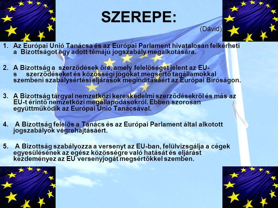 SZEREPE: 1.Az Európai Unió Tanácsa és az Európai Parlament hivatalosan felkérheti a Bizottságot egy adott témájú jogszabály megalkotására.
