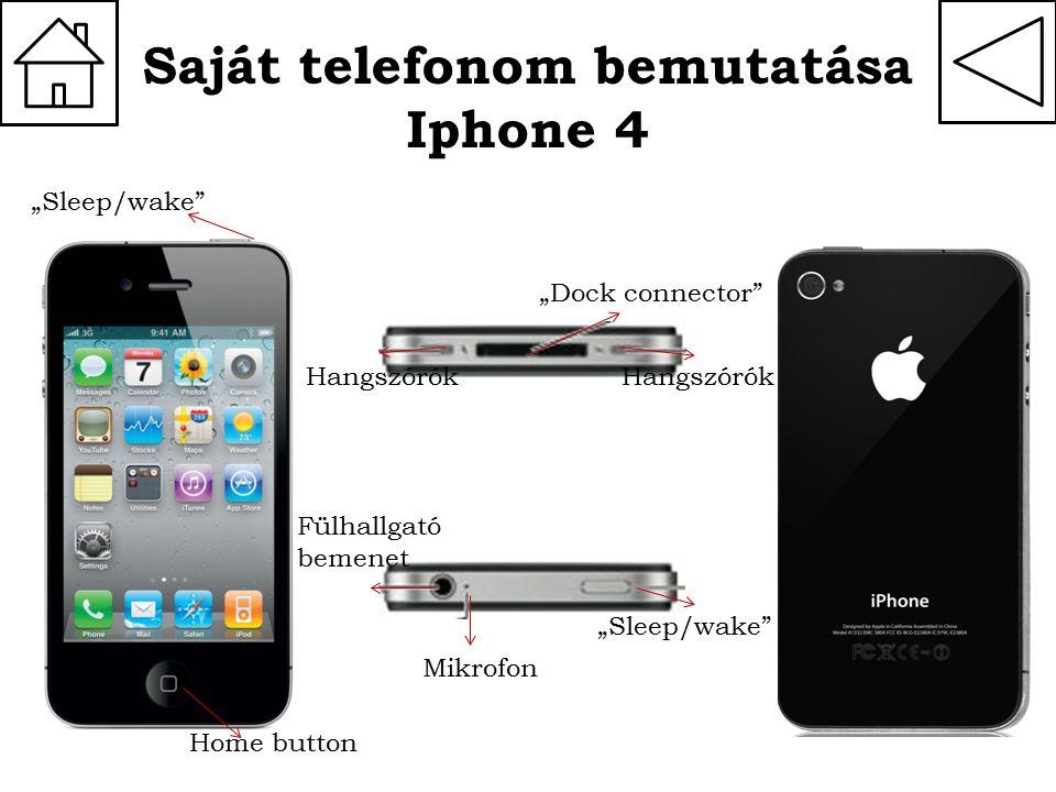 """Saját telefonom bemutatása Iphone 4 Home button """"Sleep/wake"""" Hangszórók """"Dock connector"""" Mikrofon """"Sleep/wake"""" Fülhallgató bemenet"""