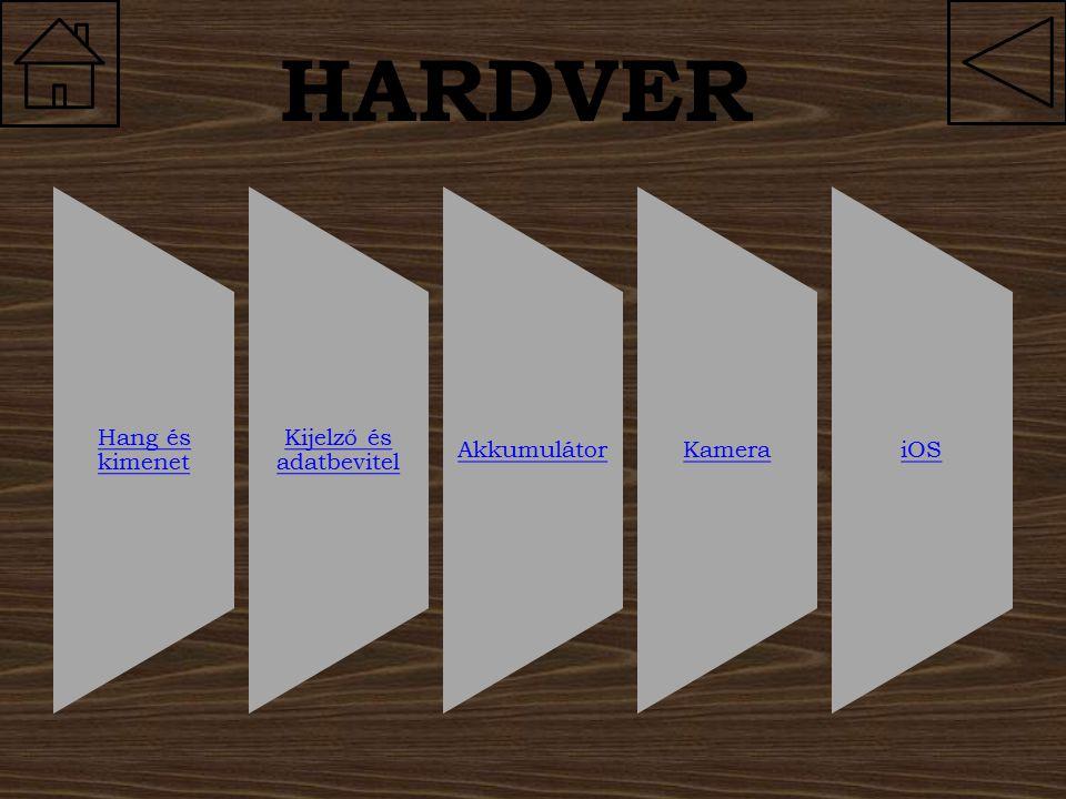 HARDVER Hang és kimenet Kijelző és adatbevitel AkkumulátorKameraiOS