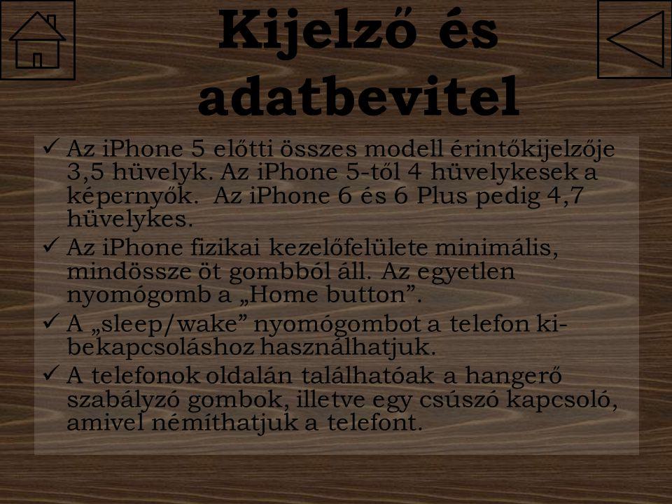 Kijelző és adatbevitel Az iPhone 5 előtti összes modell érintőkijelzője 3,5 hüvelyk. Az iPhone 5-től 4 hüvelykesek a képernyők. Az iPhone 6 és 6 Plus