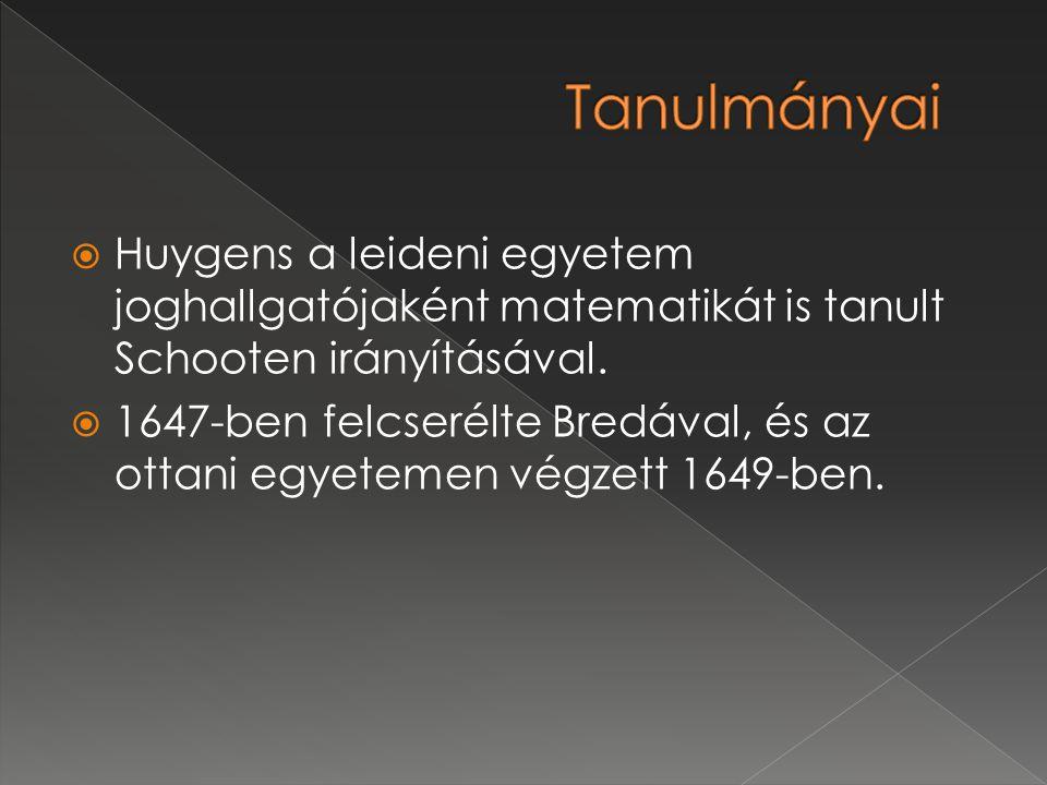  Huygens a leideni egyetem joghallgatójaként matematikát is tanult Schooten irányításával.  1647-ben felcserélte Bredával, és az ottani egyetemen vé