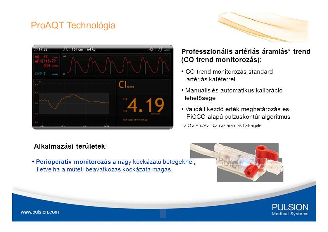 ProAQT Technológia Professzionális artériás áramlás* trend (CO trend monitorozás): CO trend monitorozás standard artériás katéterrel Manuális és autom
