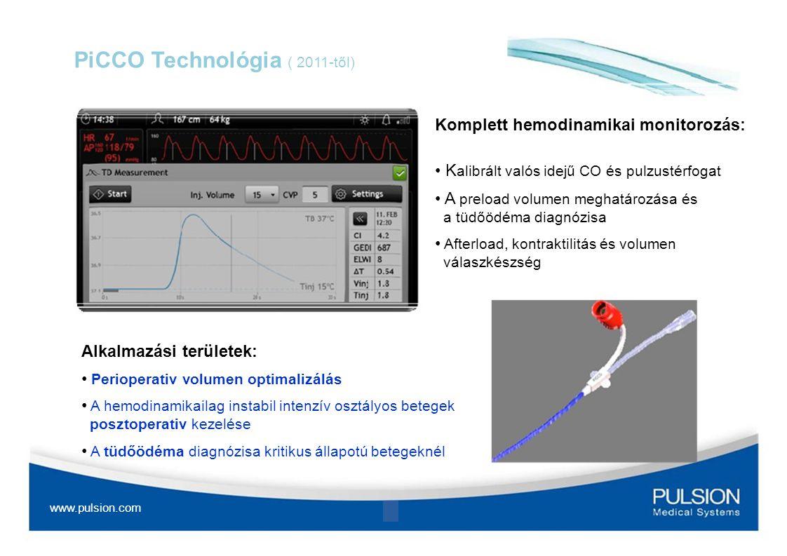 PiCCO Technológia ( 2011-től) Komplett hemodinamikai monitorozás: K alibrált valós idejű CO és pulzustérfogat A preload volumen meghatározása és a tüd