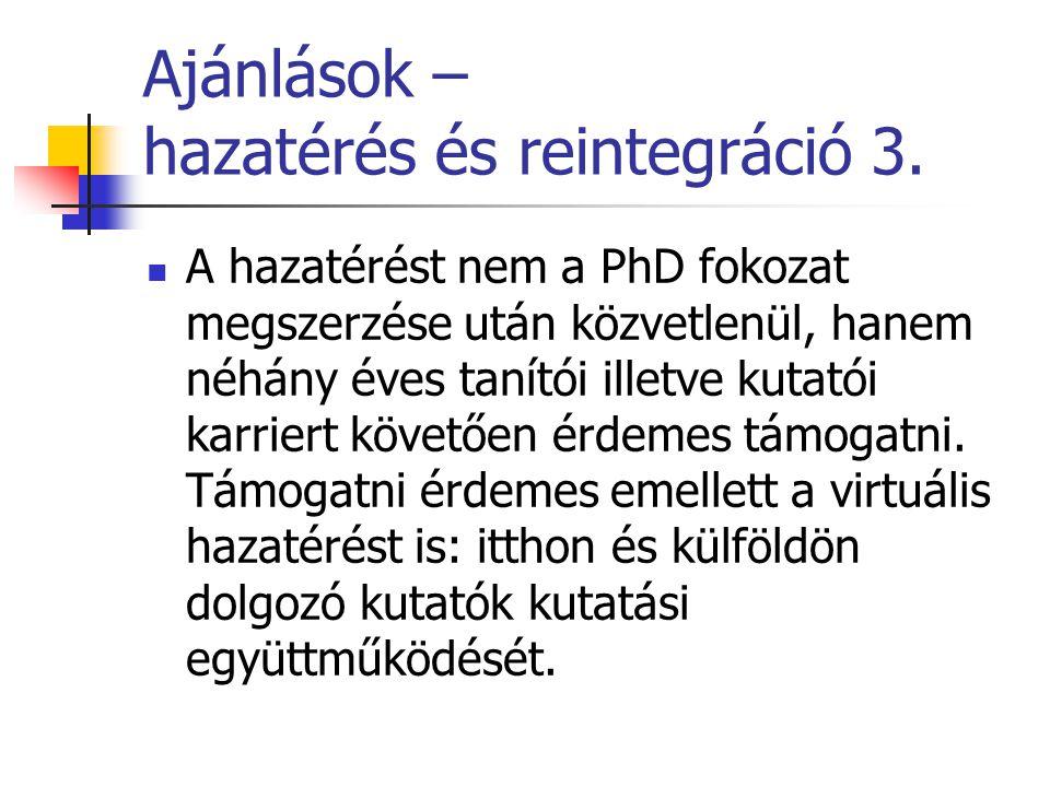 Ajánlások – hazatérés és reintegráció 3.