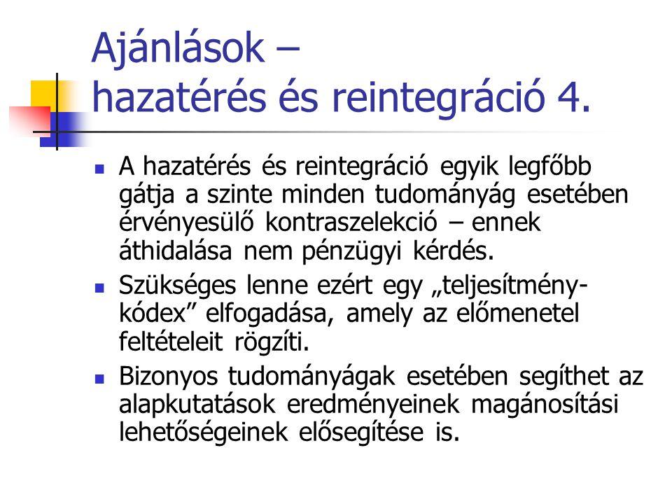 Ajánlások – hazatérés és reintegráció 4.