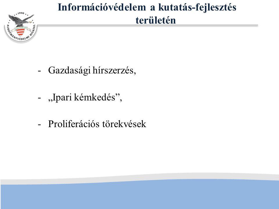 """Információvédelem a kutatás-fejlesztés területén -Gazdasági hírszerzés, -""""Ipari kémkedés , -Proliferációs törekvések"""
