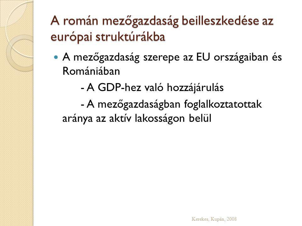 A román mezőgazdaság beilleszkedése az európai struktúrákba Kerekes, Kupán, 2008 A mezőgazdaság szerepe az EU országaiban és Romániában - A GDP-hez való hozzájárulás - A mezőgazdaságban foglalkoztatottak aránya az aktív lakosságon belül