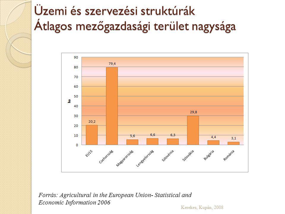 Üzemi és szervezési struktúrák Átlagos mezőgazdasági terület nagysága Kerekes, Kupán, 2008 Forrás: Agricultural in the European Union- Statistical and Economic Information 2006