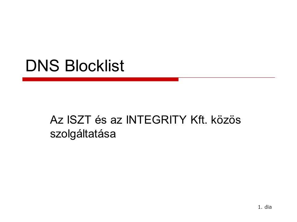 1. dia DNS Blocklist Az ISZT és az INTEGRITY Kft. közös szolgáltatása