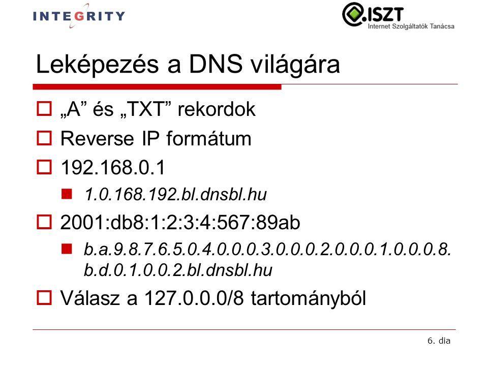"""6. dia Leképezés a DNS világára  """"A"""" és """"TXT"""" rekordok  Reverse IP formátum  192.168.0.1 1.0.168.192.bl.dnsbl.hu  2001:db8:1:2:3:4:567:89ab b.a.9."""