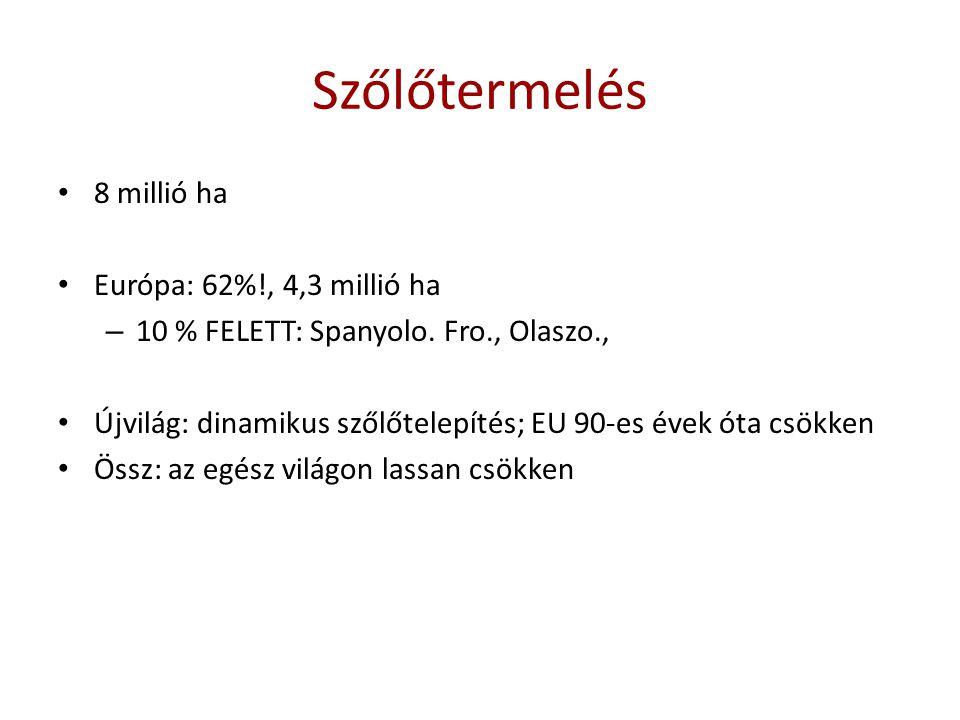 Bortermelés Világ bortermelése: ~ 285 millió hl 1.