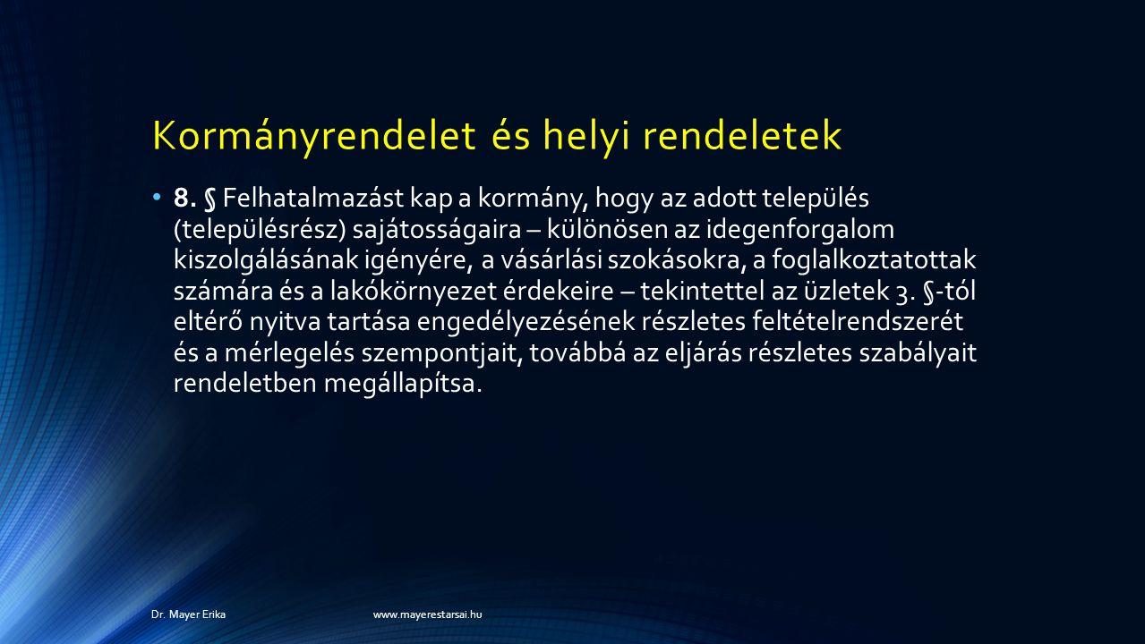 Kormányrendelet és helyi rendeletek 8.