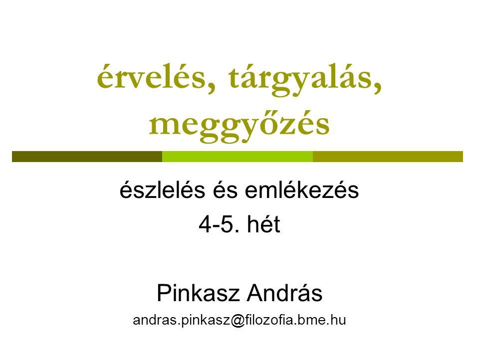 érvelés, tárgyalás, meggyőzés észlelés és emlékezés 4-5. hét Pinkasz András andras.pinkasz@filozofia.bme.hu