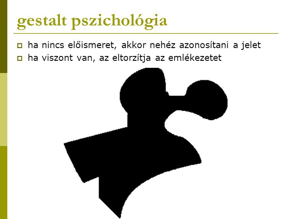 gestalt pszichológia  ha nincs előismeret, akkor nehéz azonosítani a jelet  ha viszont van, az eltorzítja az emlékezetet