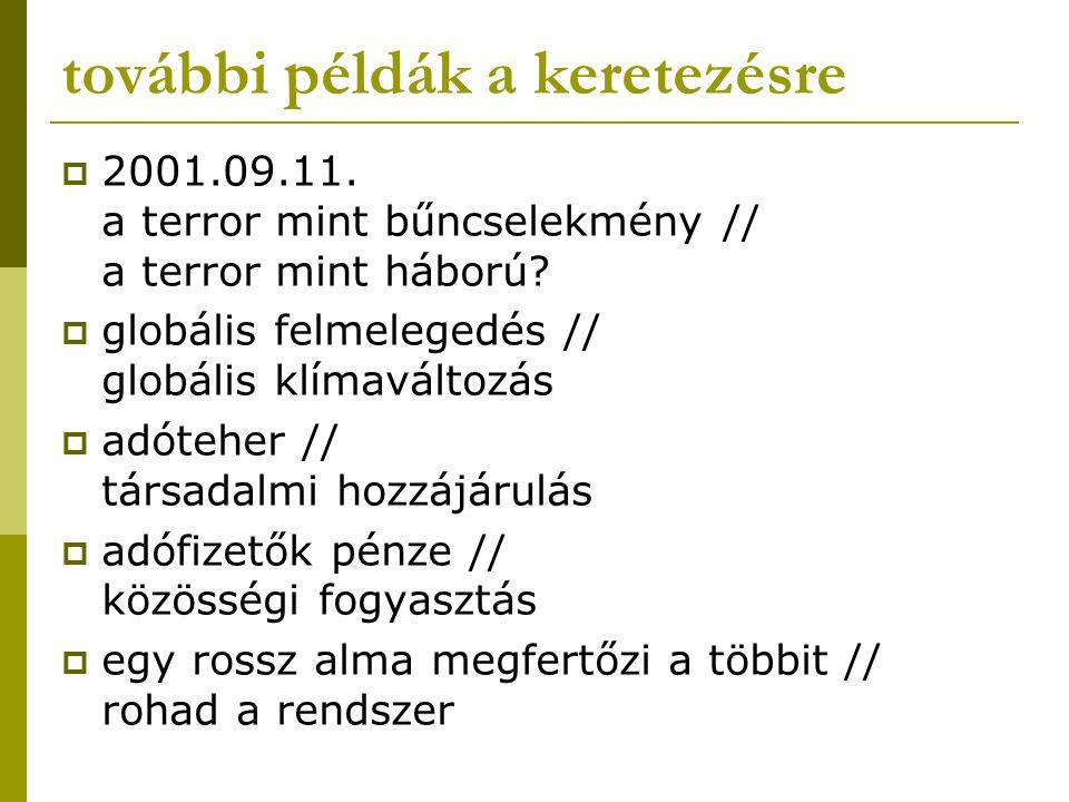 további példák a keretezésre  2001.09.11. a terror mint bűncselekmény // a terror mint háború?  globális felmelegedés // globális klímaváltozás  ad