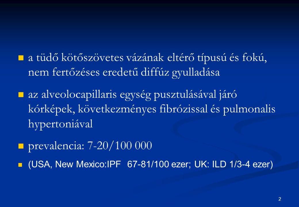 23 Terápia Ismert etiologia Ismert etiologia Megszüntetni az expozíciót Megszüntetni az expozíciót Ismeretelen etiologia Ismeretelen etiologia A gyulladásos folyamat gátlása A gyulladásos folyamat gátlása Oralis corticosteroid (1mg/kg  0,25 mg/kg) Oralis corticosteroid (1mg/kg  0,25 mg/kg) CPA (cyclophosphamide) CPA (cyclophosphamide) Imuran (azathioprine) Imuran (azathioprine) Késői stádium Késői stádium O2 O2 Szupportáció Szupportáció Transzplantáció Transzplantáció 23