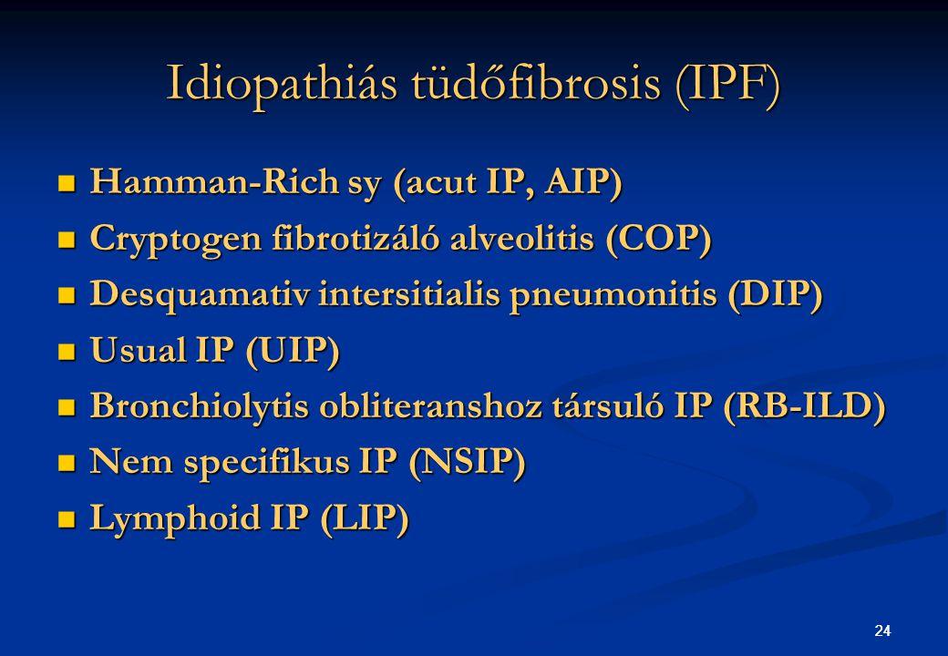 24 Idiopathiás tüdőfibrosis (IPF) Hamman-Rich sy (acut IP, AIP) Hamman-Rich sy (acut IP, AIP) Cryptogen fibrotizáló alveolitis (COP) Cryptogen fibroti