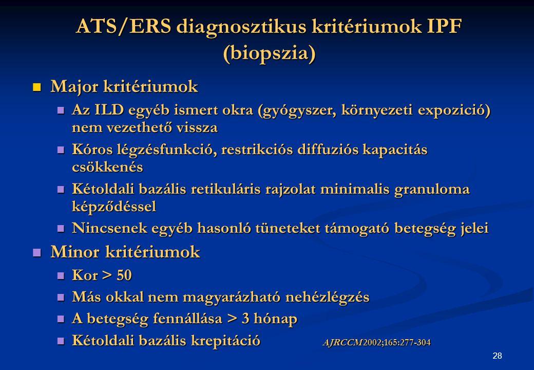 28 ATS/ERS diagnosztikus kritériumok IPF (biopszia) Major kritériumok Major kritériumok Az ILD egyéb ismert okra (gyógyszer, környezeti expozició) nem